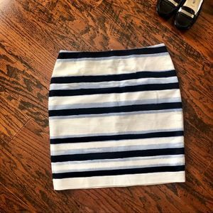 Ann Taylor Striped Pencil Skirt in Textured Cotton